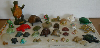 Collection Lot 40 Turtle Figurines Tortoise Onyx-Wood-Brass-Stone-Glass-Coal!