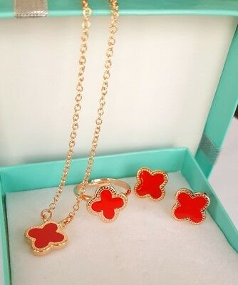 Flower 4-leaf Lucky Clover Red Rose Gold Jewelry Set: Earring/Necklace/Ring