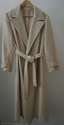 ca223a105b9e7 Vintage 100% Cashmere Ladies Long Wrap Coat ILGWU Union Made Ivory Size L