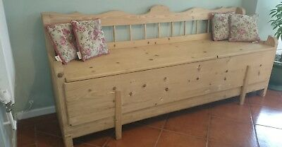 Antique European Pine Bench, Pull Out Bed, great for storage. 1900s