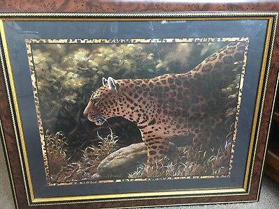 Jaguar/leopard Framed/glass Enclosed Print! Gorgeous! Signed! Free Shipping!!
