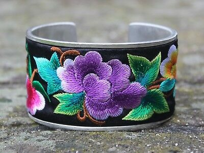 Ethnic silver embroidery Bangle Gypsy boho flower bangle Unique Gift for her