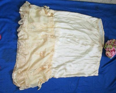 Antique Hm Silk/lace/embroidered/ribbonwork/ribbon/rosettes~Petticoat/skirt~Af