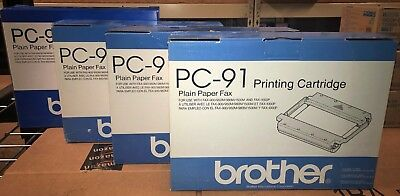 Lot of 4 Genuine Brother PC91 PC-91 Printing Cartridges New in Box OEM