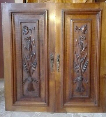 ANTIQUE FRENCH WOOD CARVED PANEL DOOR PAIR henry II 19th en noyer napoleon III