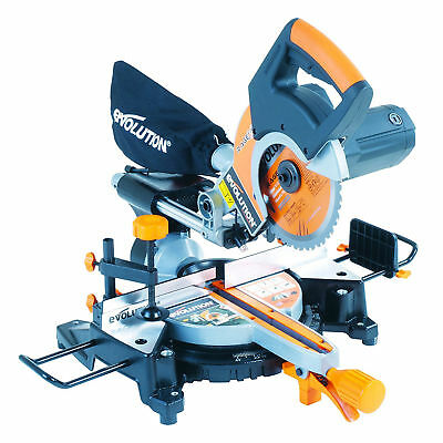 Evolution Multipurpose Sliding Mitre Saw 230V + Accessory Pack Accurate Cut