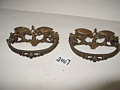 2 Victorian Brass Drawer Pulls 3 1/2 long x 2 inches wide
