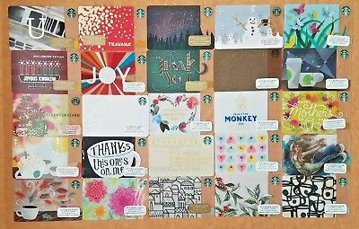 Lot 25 Starbucks gift cards Brand new Unswiped pin intact all different U more..