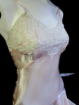 Vintage Women's Full Slip, French Lace  Pink Rayon Bias Cut Slimster Sz 31