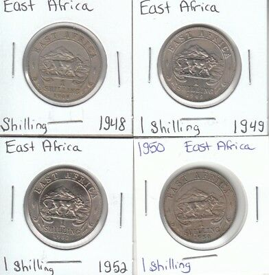 East Africa: Collection of 4 Different Circulated 1 Shilling Coins