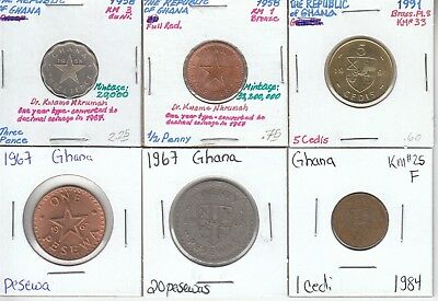 Ghana: Collection of 6 Different Circulated Coins