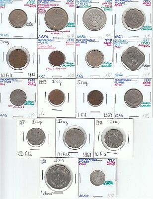 Iraq: Collection of 17 Different Circulated Coins