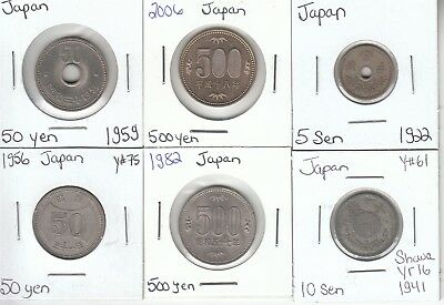 Japan: Collection of 6 Different Circulated Coins