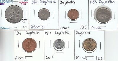 Seychelles: Lot of 7 Different Circulated Coins