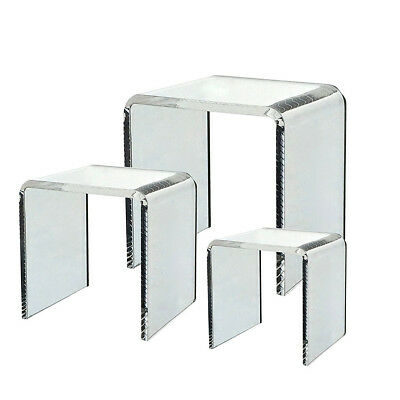Clear Acrylic Riser 3pc Jewelry Photo Figure Display Stand Square Counter Decor