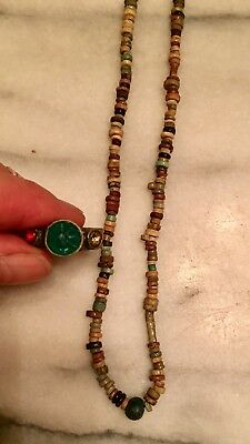 Ancient Egyptian Faience Bead Necklace and Ring. Ancient Glass, Good Variety!