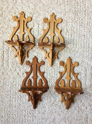 Four (4) Vintage Small Wood Shelves