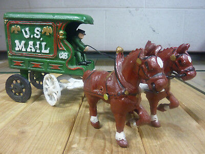 Vintage Cast Iron Metal Horse Drawn US MAIL 128 Wagon Carriage, 2 Horses