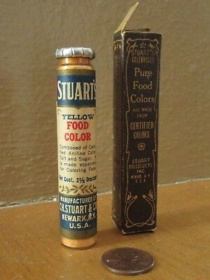 Collectible Vintage Rare Unopened Stuart's Food Color Bottle  Spice Tin Tube Adv