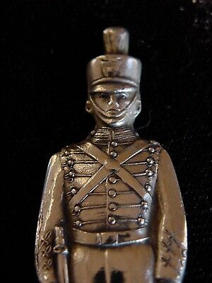"""Antique FIGURAL STERLING SPOON 4 1/8"""" WEST POINT SOLDIER / CADET - Great Detail"""