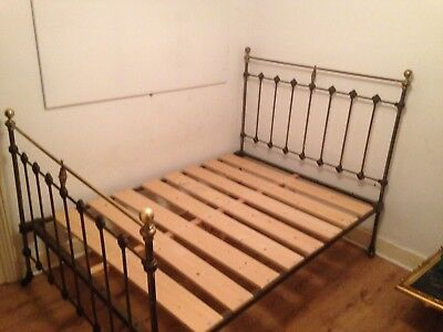 Victorian cast iron double bed with modern bespoke wooden slats and extra foot