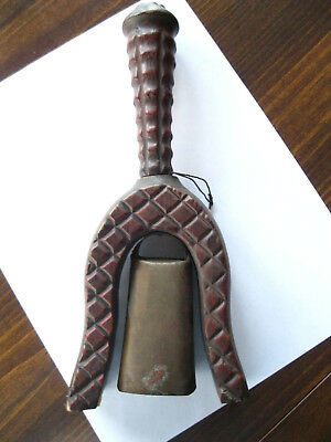 Vintage hand carved wood handle bell made in Spain