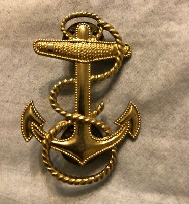Vintage Anchor Brooch Signed 1/20-10K  1-3/4 Inch Long Nautical Rope 318212