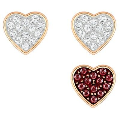 4b784254c Swarovski Crystal Wishes Heart Pierced Earring Set Clear Red Rose Gold  5272369