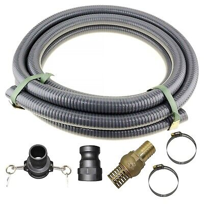 """3"""" Inch 76mm 5m Suction Hose Camlocks Clamps Kit Water Fire Pump Foot Valve"""