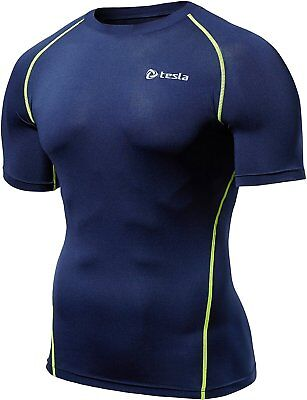 Mens Compression Sports Wear Gym Base layer Skins Breathable Short Sleeve Shirts