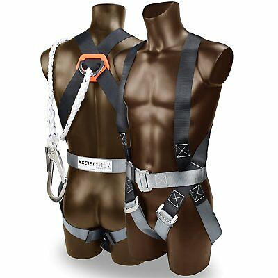 """Safety Fall Protection Kit Full Body Harness W 6"""" Shock-absorbing Safey Lanyard"""