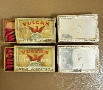 Antique Sterling silver match box holders (2) inscribed vintage matches included