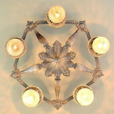 LARGE Vintage Art Deco Victorian 5 Light Chandelier Flush Ceiling Fixture Silver