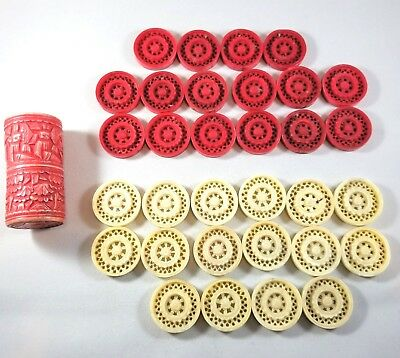 Antique 1820's Burmese White & Red Carved Bone Backgammon Checkers & Dice Shaker