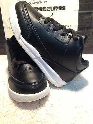 Toddler Boy's Nike Air Jordan Retro 3 Black Leather Basketball Shoe SIZE 9C