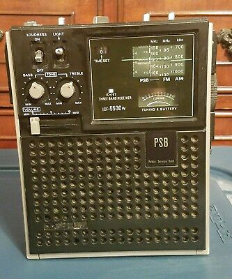 Sony ICF-5500W PSB Public Service Band Transistor Radio Receiver with timer