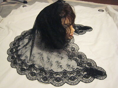 vintage style new black  soft mantilla Catholic church chapel scarf lace Mass