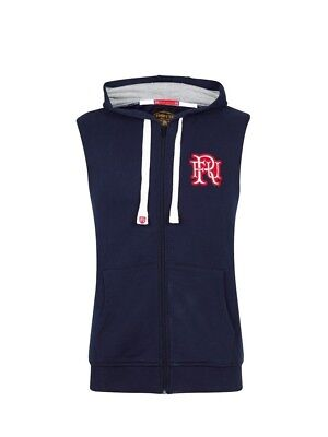 (X-Large, Z73 Navy) - Front Up Rugby Men's Hooded Gilet Mid Layers