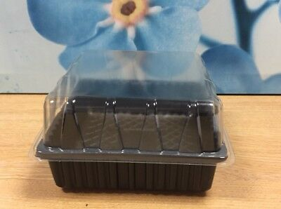 10 SEED TRAYS + 10 CLEAR PROPAGATOR TOPS / LIDS HALF SIZE gravel no hole 15cm