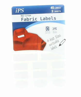 Lot of 45 IPS No Iron Writable Fabric Labels Assorted Sizes