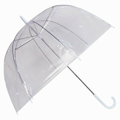 3 x LARGE CLEAR DOME SEE THROUGH UMBRELLA HANDLE TRANSPARENT WEDDING BROLLY