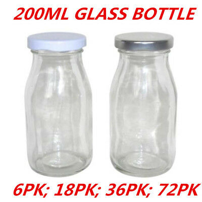 Mini Small Glass Milk Juice Candy Bottle 200ML With Screw Top Silver White Lid W