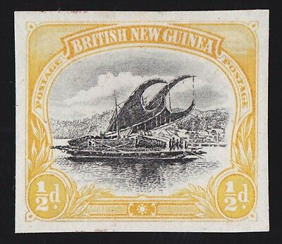 PAPUA 1901 BNG Lakatoi ½d Imperf PROOF PHOTO CERTIFICATE GREAT RARITY!