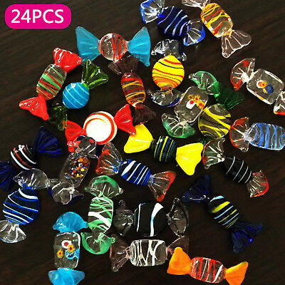 24pcs Vintage Murano Glass Sweets Wedding Party Candy Ornaments Decoration Gift