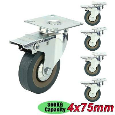 4 Heavy Duty 360kg 75mm PU Swivel Castor Wheels Trolley Furniture Caster Rubber