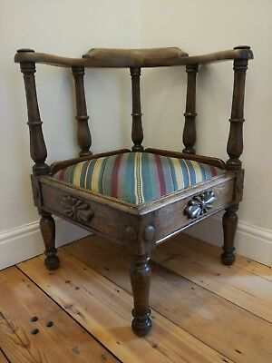 Antique carved wood corner low stool, chair