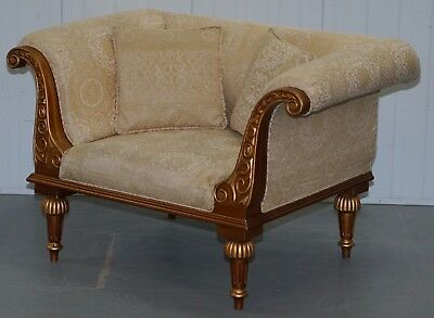 1 Of 2 Gold Leaf Painted Regency French Style Armchairs Part Of Large Suite