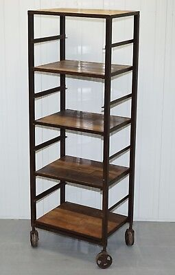 Restored Edwardian Industrial Bakers Shelves Bookcase Solid Steel Trolley Wheels