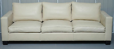 Rrp £12000 Fully Restored Ralph Lauren Graham 3 - 4 Seater Leather Sofa Mahogany