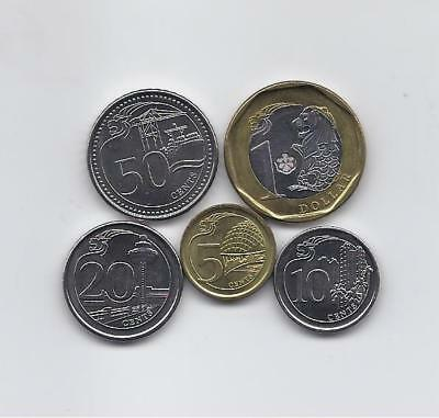 Singapore 2013 - 2014 Five High Grade And Value Coins Set: 1 Dollar To 5 Cents